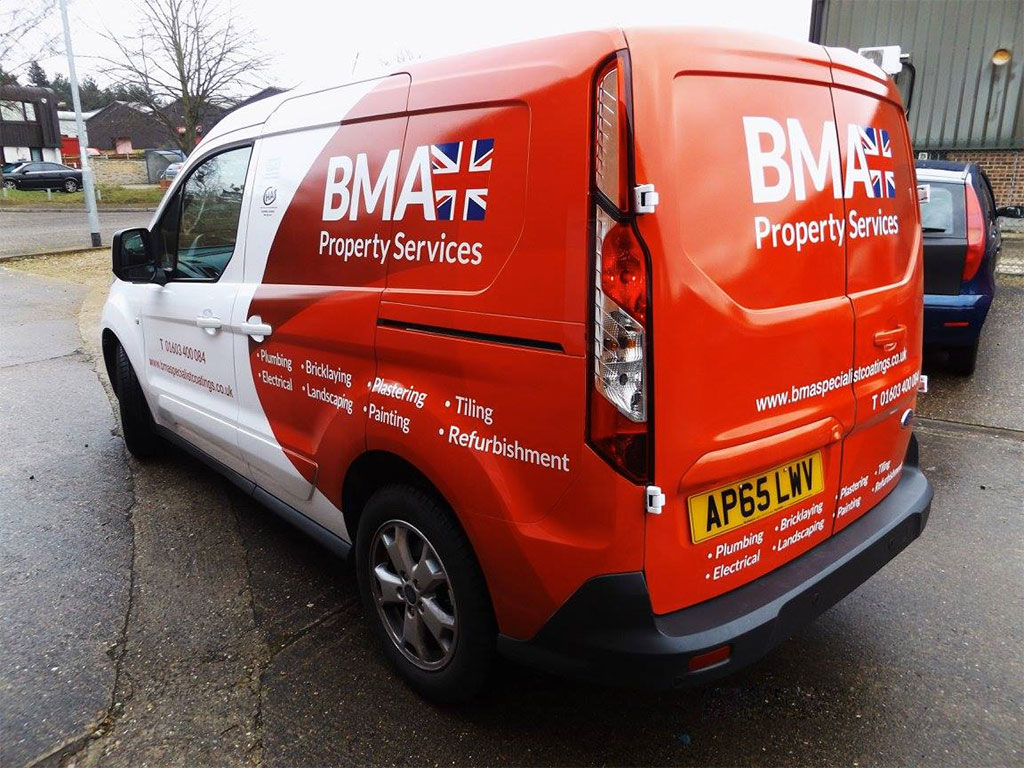 A Part wrap on a Ford Transit Connect