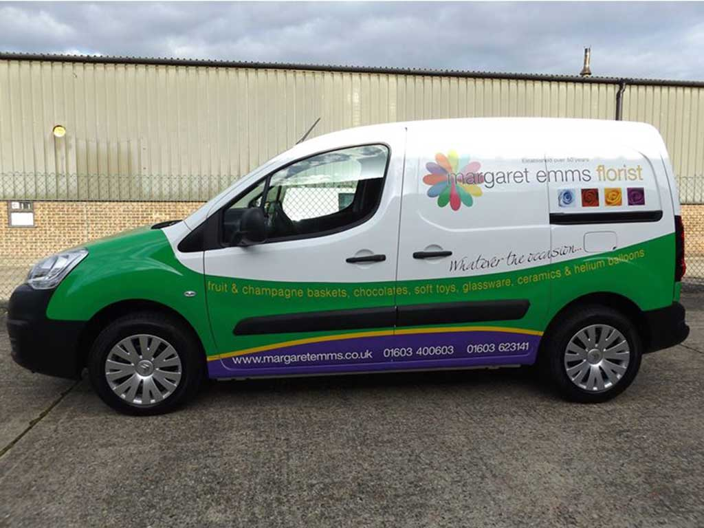 Lower part wrap with graphics for Margarett Emms Florist